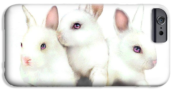 Fuzzy Digital iPhone Cases - Three Bunnies iPhone Case by Robert Foster