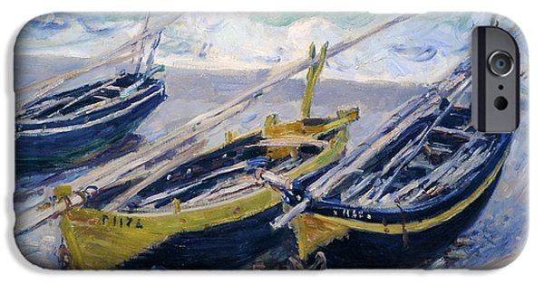 Boat iPhone Cases - Three Fishing Boats iPhone Case by Claude Monet