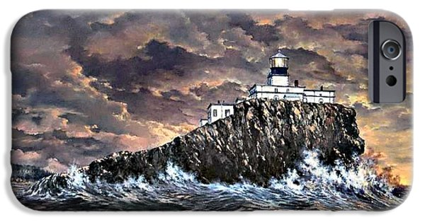 Turbulent Skies Paintings iPhone Cases - Tillamook Rock Light iPhone Case by Lynne Wright
