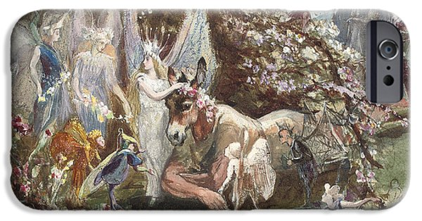 Midsummer iPhone Cases - Titania and Bottom iPhone Case by John Anster Fitzgerald