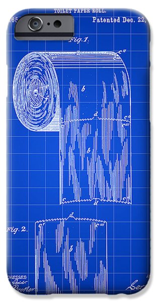 Ply iPhone Cases - Toilet Paper Roll Patent 1891 - Blue iPhone Case by Stephen Younts