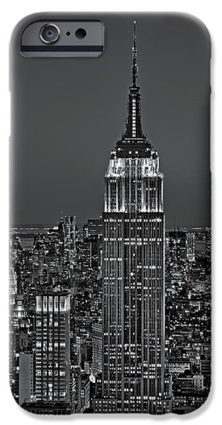 Empire State Building iPhone Cases - Top of the Rock BW iPhone Case by Susan Candelario