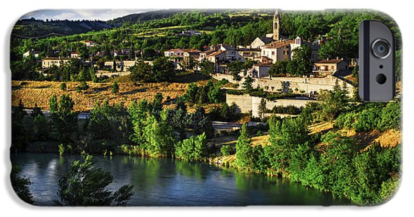 River View iPhone Cases - Town of Sisteron in Provence iPhone Case by Elena Elisseeva