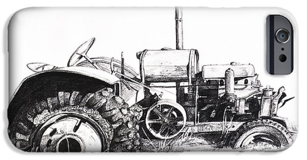 Gear Drawings iPhone Cases - Tractor iPhone Case by Aaron Spong