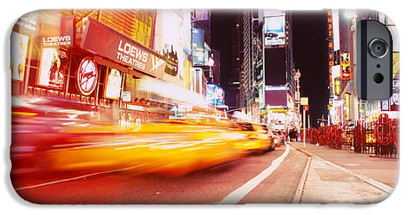 Asphalt iPhone Cases - Traffic On The Road, Times Square iPhone Case by Panoramic Images