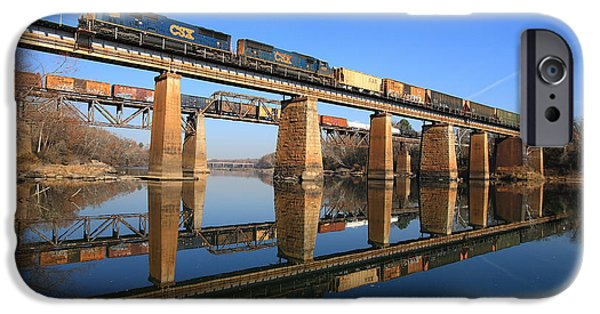 Horse iPhone Cases - 2 Trains 2 Trestles Cayce South Carolina iPhone Case by Joseph C Hinson Photography