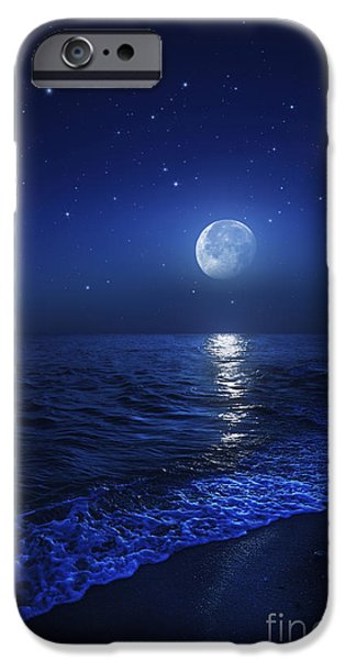 Sea Moon Full Moon Photographs iPhone Cases - Tranquil Ocean At Night Against Starry iPhone Case by Evgeny Kuklev