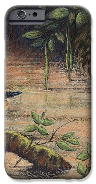Treading Water Asian Fishing Cat iPhone Case by Cynthia House