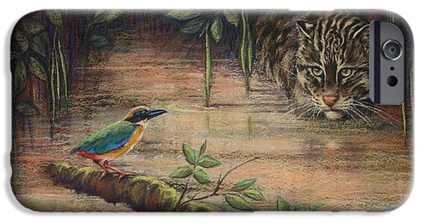 Fishing Pastels iPhone Cases - Treading Water Asian Fishing Cat iPhone Case by Cynthia House