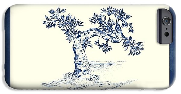 Expressive Drawings iPhone Cases - Tree iPhone Case by John Krakora