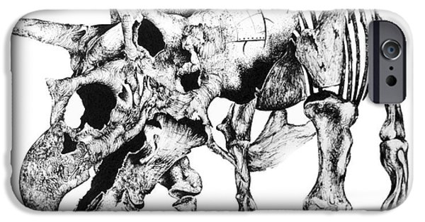 Extinct And Mythical Drawings iPhone Cases - Tris Bones iPhone Case by Penelope Fedor