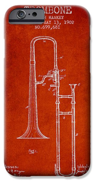 Slide iPhone Cases - Trombone Patent from 1902 - Red iPhone Case by Aged Pixel