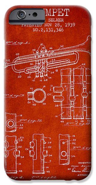Trumpet iPhone Cases - Trumpet Patent from 1939 - Red iPhone Case by Aged Pixel