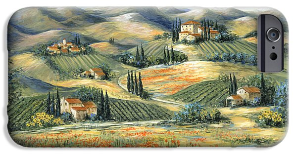 Vineyard Art iPhone Cases - Tuscan Villa and Poppies iPhone Case by Marilyn Dunlap