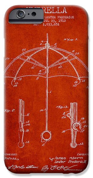 Umbrellas Digital Art iPhone Cases - Umbrella patent Drawing from 1912 iPhone Case by Aged Pixel