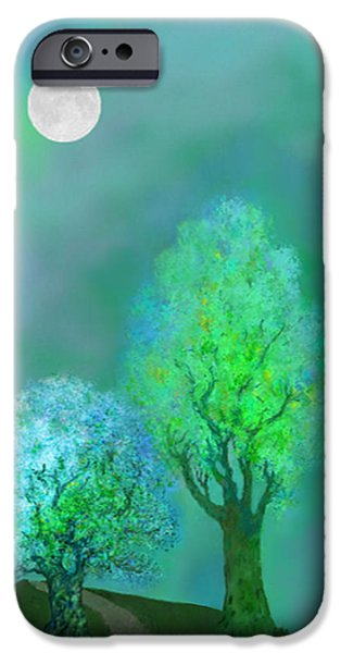 unbordered DREAM TREES AT TWILIGHT iPhone Case by Mathilde Vhargon