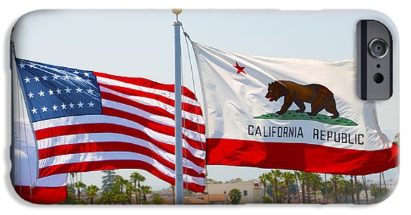 Old Glory Paintings iPhone Cases - United States and California Flags iPhone Case by Barbara Snyder