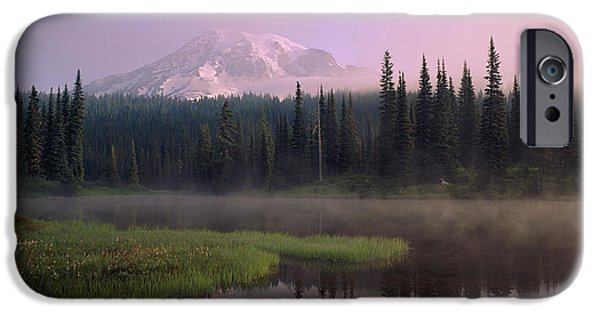 Mountain iPhone Cases - Usa, Washington, Mount Rainier National iPhone Case by Panoramic Images