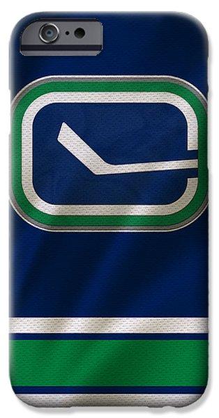 Vancouver Photographs iPhone Cases - Vancouver Canucks Uniform iPhone Case by Joe Hamilton