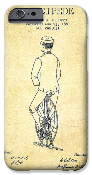 Sled iPhone Cases - Velocipede Patent Drawing from 1881 - Vintage iPhone Case by Aged Pixel