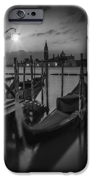 San Marco iPhone Cases - VENICE Gondolas in black and white iPhone Case by Melanie Viola