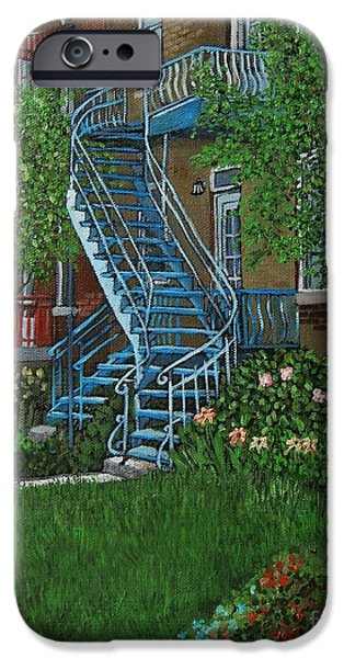 Staircase Paintings iPhone Cases - Verdun Stairs iPhone Case by Reb Frost