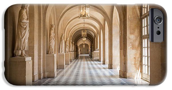 Wealth iPhone Cases - Versailles Hallway iPhone Case by Inge Johnsson