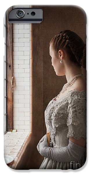Glitter Glove iPhone Cases - Victorian Woman At A Window iPhone Case by Lee Avison