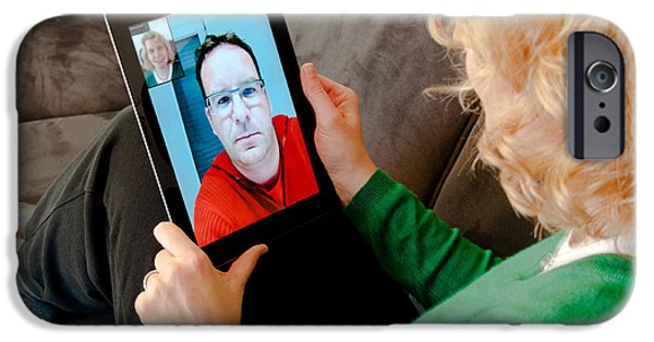Technology iPhone Cases - Video Telephony on Digital Tablet PC iPhone Case by Frank Gaertner