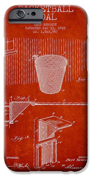 Hoops iPhone Cases - Vintage Basketball Goal patent from 1925 iPhone Case by Aged Pixel
