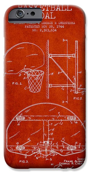 Hoops iPhone Cases - Vintage Basketball Goal patent from 1944 iPhone Case by Aged Pixel