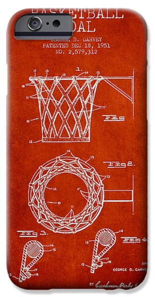 Dunk iPhone Cases - Vintage Basketball Goal patent from 1951 iPhone Case by Aged Pixel