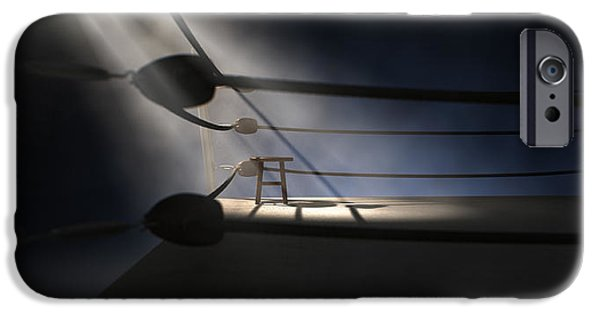Chair Digital iPhone Cases - Vintage Boxing Corner And Stool iPhone Case by Allan Swart