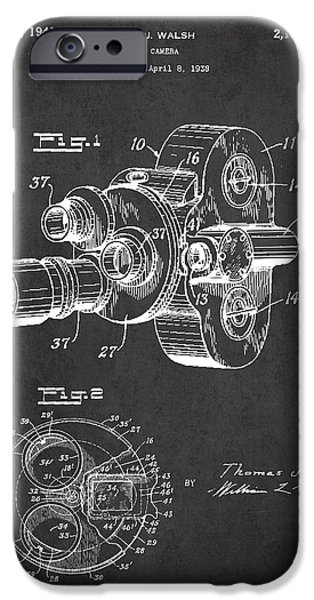 Film Camera iPhone Cases - Vintage Camera Patent Drawing from 1938 iPhone Case by Aged Pixel