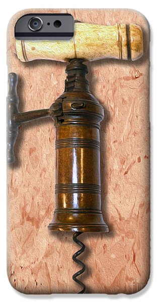 Antiques Mixed Media iPhone Cases - KIngs Rack and Pinion Corkscrew Painting  iPhone Case by Jon Neidert