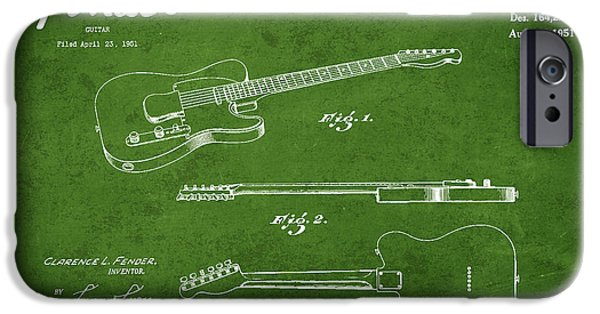 Strings Digital iPhone Cases - Vintage Fender Guitar Patent Drawing from 1951 iPhone Case by Aged Pixel