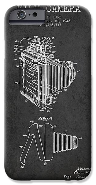 Film Camera iPhone Cases - Vintage film camera patent from 1948 iPhone Case by Aged Pixel