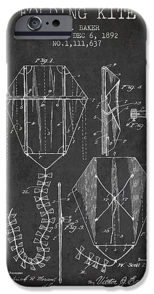 Kite iPhone Cases - Vintage Folding Kite Patent from 1892 iPhone Case by Aged Pixel