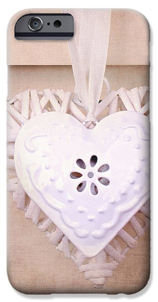 Vintage hearts with texture iPhone Case by Jane Rix