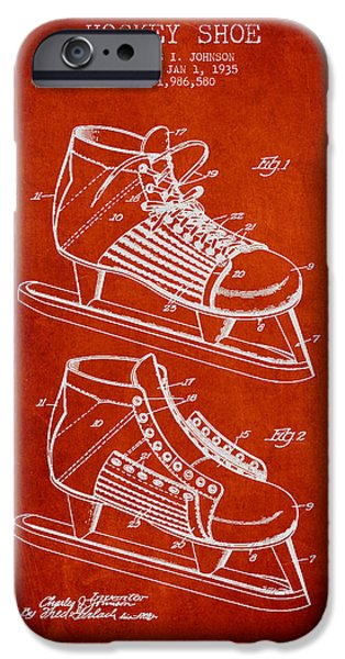 Hockey Game iPhone Cases - Vintage Hockey Shoe Patent Drawing From 1935 iPhone Case by Aged Pixel