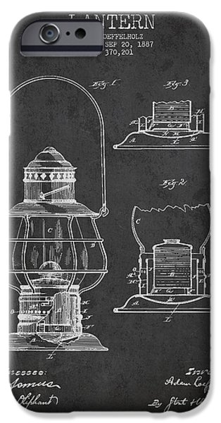 Lantern Digital Art iPhone Cases - Vintage Lantern Patent Drawing From 1887 iPhone Case by Aged Pixel