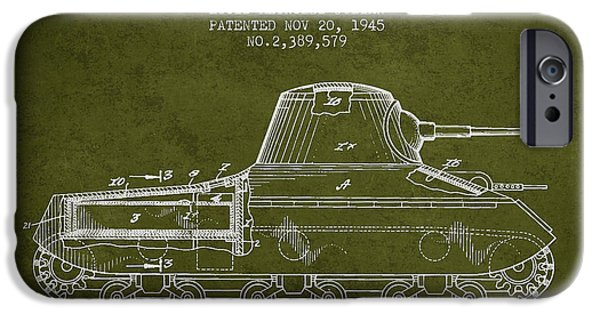 Fight Digital iPhone Cases - Vintage Military Tank Patent from 1945 iPhone Case by Aged Pixel
