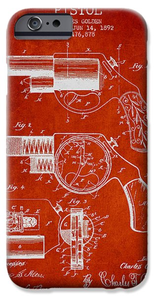 Pistol iPhone Cases - Vintage Pistol Patent from 1892 iPhone Case by Aged Pixel