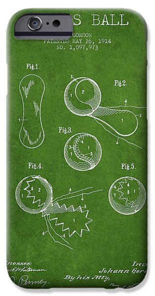 Tennis iPhone Cases - Vintage Tennnis Ball Patent Drawing from 1914 iPhone Case by Aged Pixel