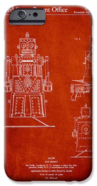 Technical iPhone Cases - Vintage Toy Robot Patent Drawing from 1955 iPhone Case by Aged Pixel