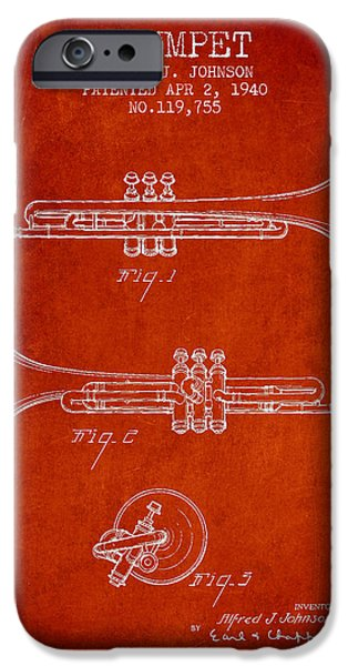 Trumpet iPhone Cases - Vintage Trumpet Patent from 1940 - Red iPhone Case by Aged Pixel