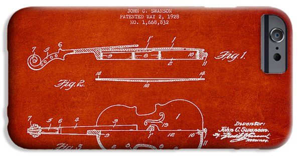 Violin iPhone Cases - Vintage Violin Patent Drawing From 1928 iPhone Case by Aged Pixel