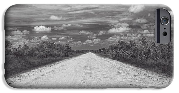 National Preserves iPhone Cases - Wagon wheel road BW iPhone Case by Rudy Umans