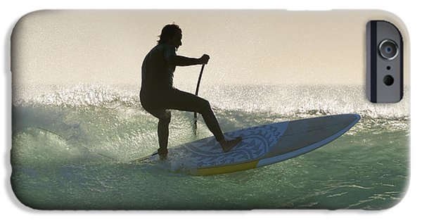 Surf Silhouette iPhone Cases - Wakeboarding Los Lances Beach Tarifa iPhone Case by Ben Welsh