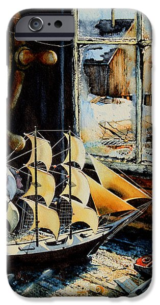 Fishing Shack iPhone Cases - Warm Winter Pastime iPhone Case by Hanne Lore Koehler